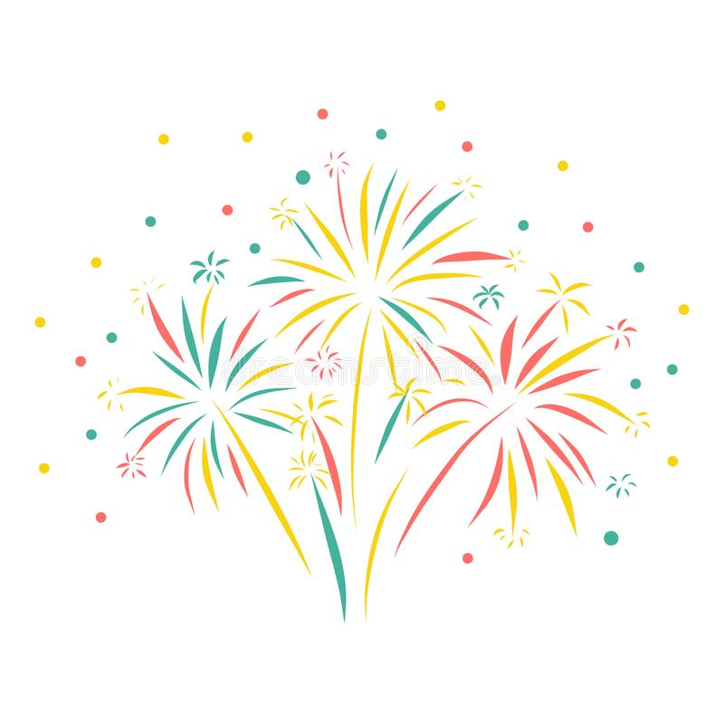 Geïsoleerde vuurwerkhand getrokken vectorillustratie Kleurrijke Vuurwerkscène Groetkaart, Gelukkig Nieuwjaar, viering, verjaardag vector illustratie