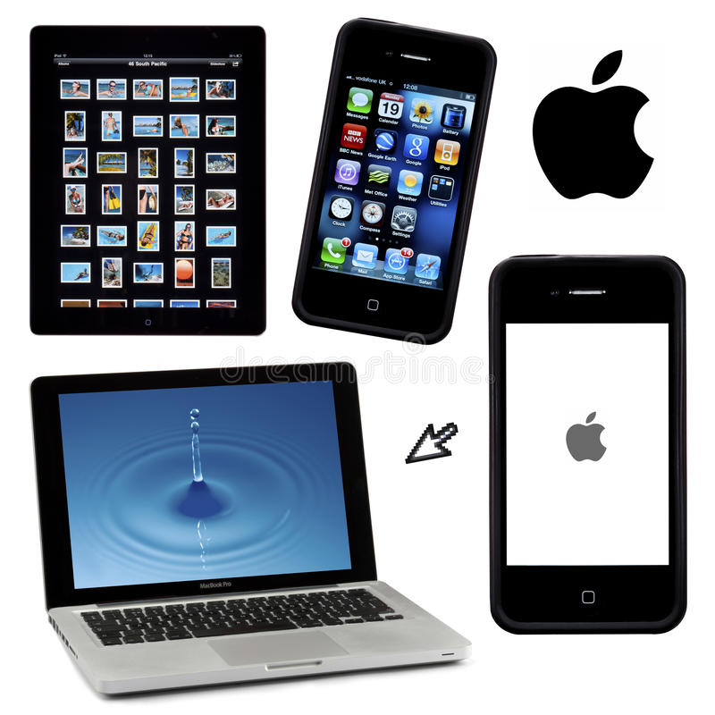 Geïsoleerde waaier van Apple-producten royalty-vrije stock afbeeldingen