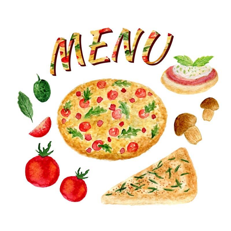 Geïsoleerde waterverfinzameling van pizzareeks Italiaanse die ingrediënten voor menu worden geplaatst royalty-vrije illustratie