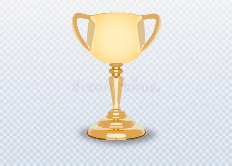 Geïsoleerde winnaarkop Gouden trofee op transparante achtergrond royalty-vrije illustratie