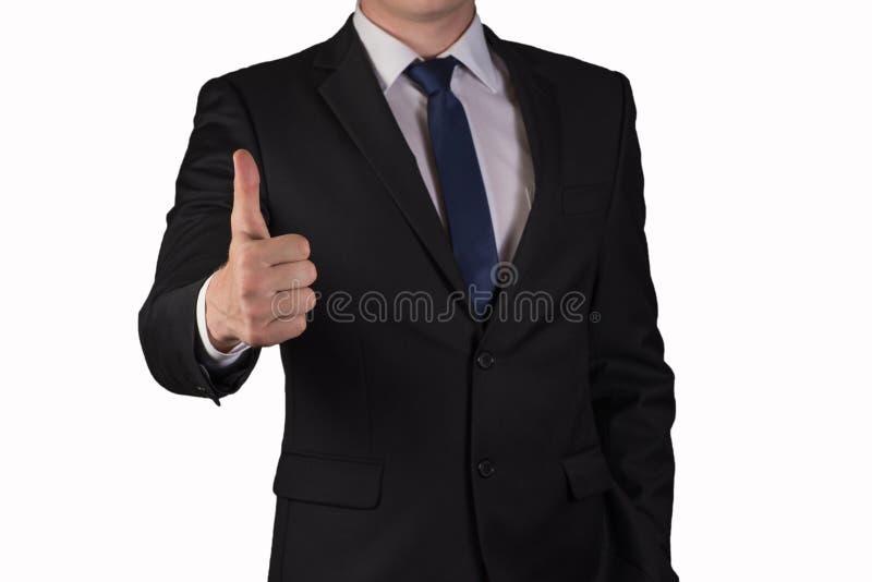 Geïsoleerde zakenman die duim opheffen omhoog, succes, goede perfecte baan, goed, royalty-vrije stock fotografie