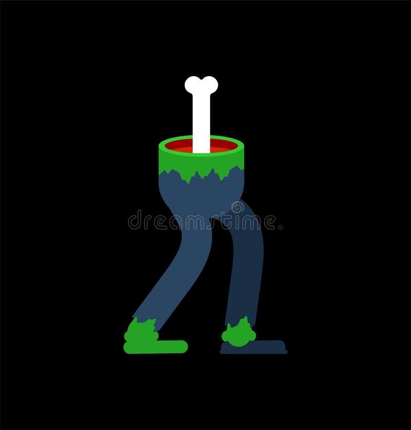 Geïsoleerde zombiebenen Groene voeten van overledene Vector illustratie vector illustratie