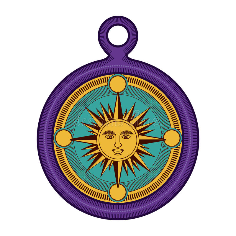 Geïsoleerde zon binnen kompasontwerp stock illustratie