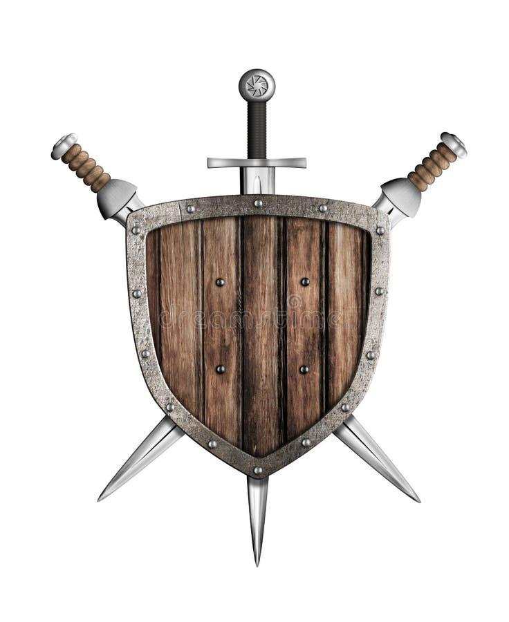 Geïsoleerde zwaarden en houten schild stock illustratie