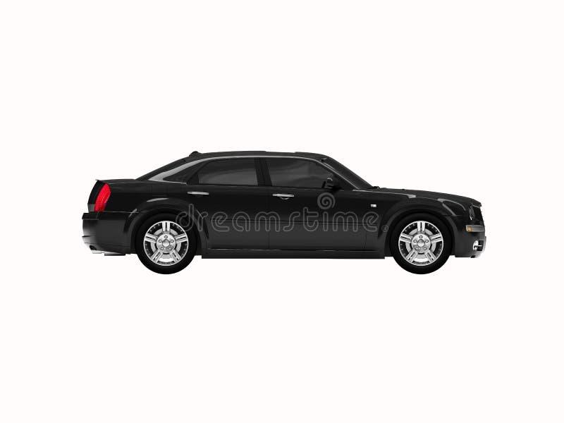 Geïsoleerde zwart auto zijaanzicht stock illustratie