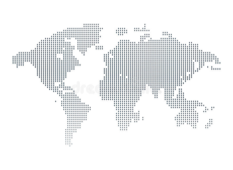 Geïsoleerde zwart-witte kleur worldmap van puntenachtergrond, aarde vectorillustratie stock illustratie