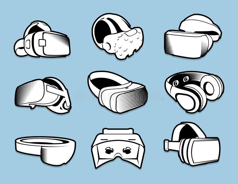 Geïsoleerde zwart-witte kleuren vr hoofdtelefoon in vlakke die stijlemblemen op blauwe achtergrond worden geplaatst vector illustratie