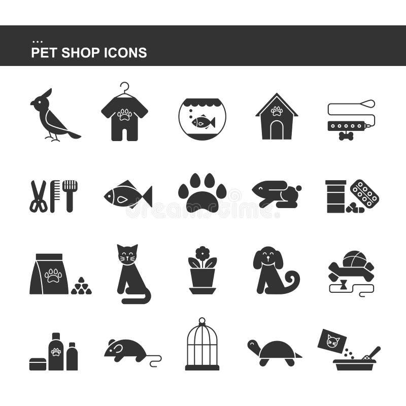 Geïsoleerde zwarte inzamelingspictogrammen van hond, kat, papegaai, vissen, aquarium, dierlijk voedsel, kraag, schildpad, kennel, stock illustratie