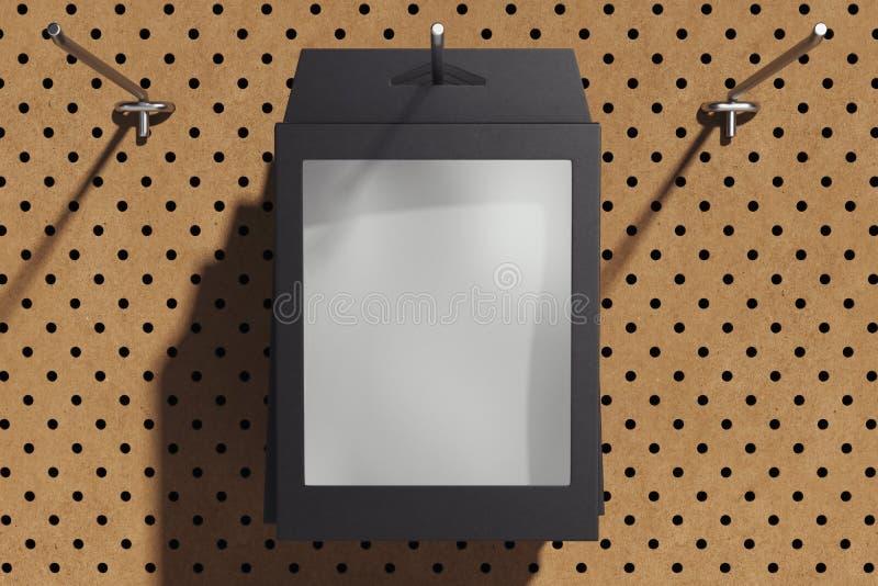 Geïsoleerde zwarte kartondoos op haak in winkel het 3d teruggeven royalty-vrije stock foto's
