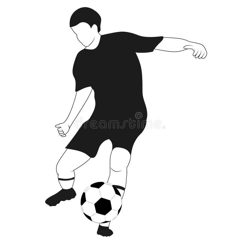 Geïsoleerde zwarte witte voetballer die vector schieten royalty-vrije illustratie
