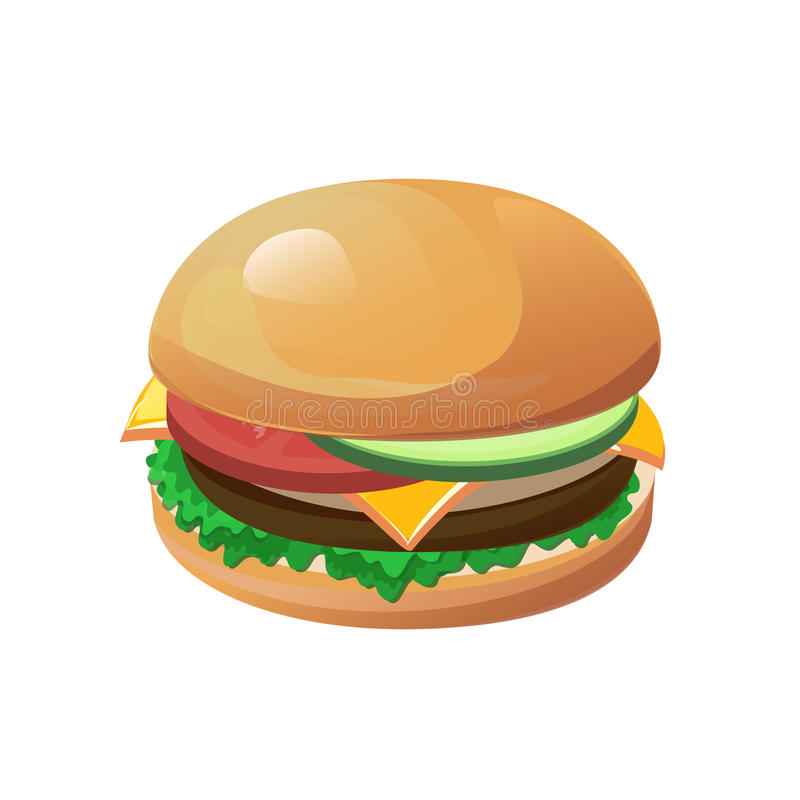 Geïsoleerdea hamburger royalty-vrije illustratie