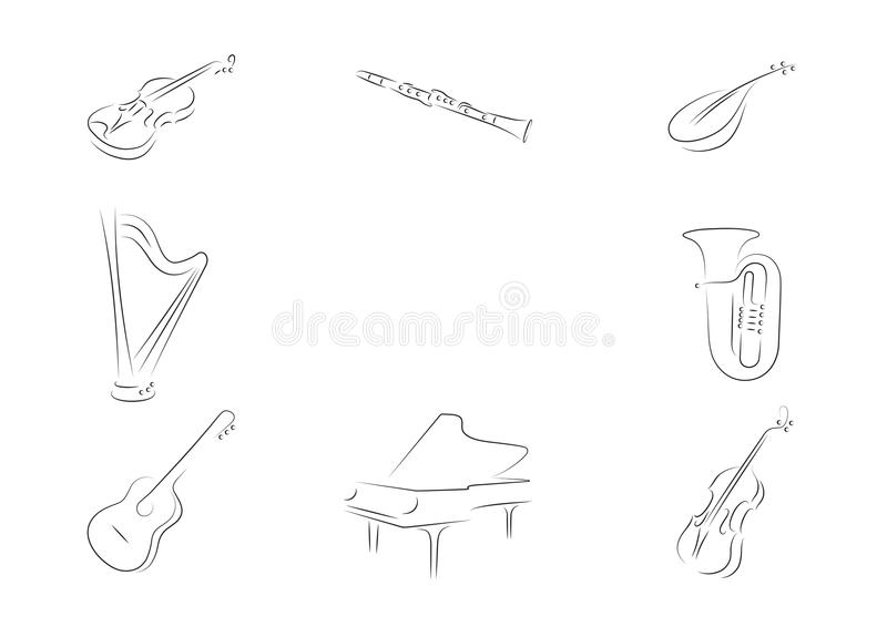 Muzikale instrumenten stock afbeelding