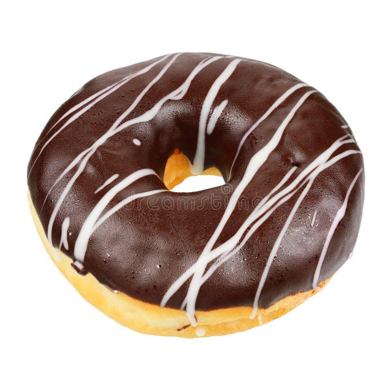 Geïsoleerded de doughnut van de chocolade royalty-vrije stock foto