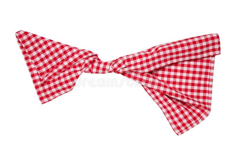 Geïsoleerded handdoeken Close-up van rode en witte geruite die servet of picknicktafelkleedtextuur op een witte achtergrond wordt stock afbeelding