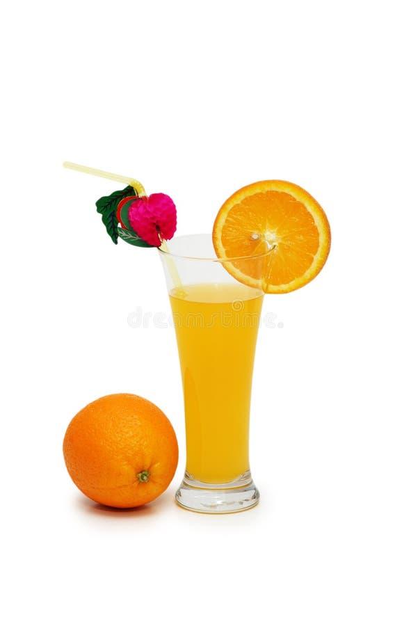 Geïsoleerded sinaasappel en sap royalty-vrije stock afbeelding