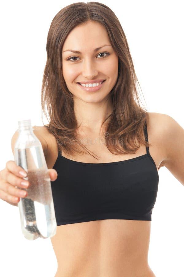 Geïsoleerded vrouw met water, royalty-vrije stock afbeelding
