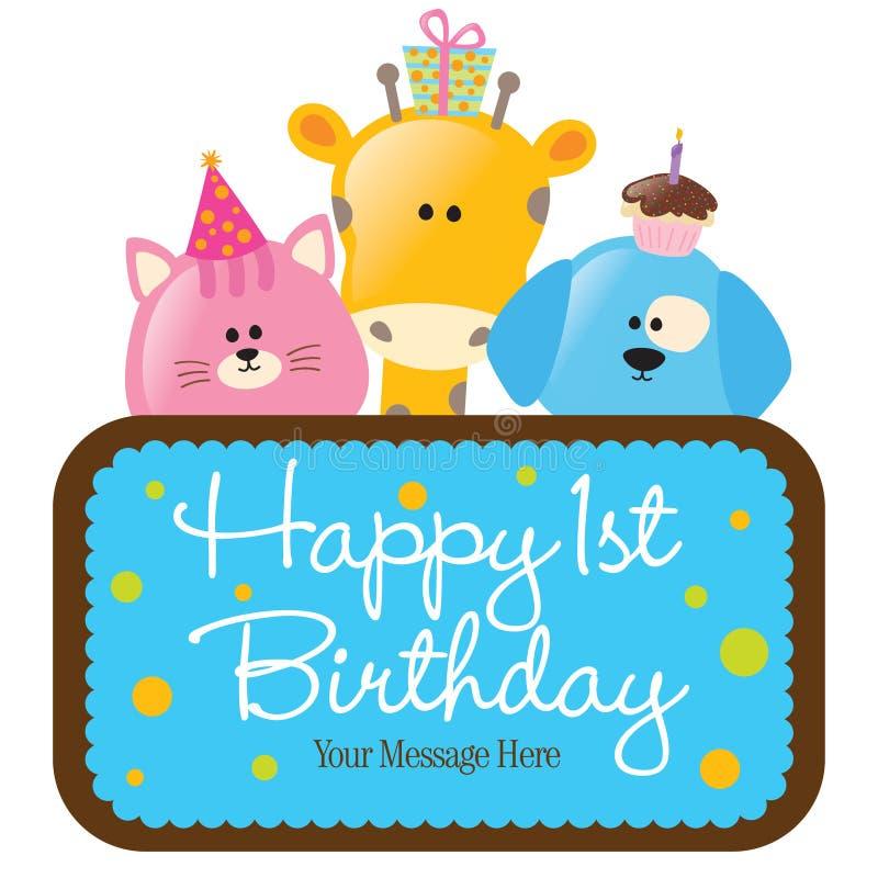 Geïsoleerdee babydieren met eerste verjaardagsteken (bl stock illustratie