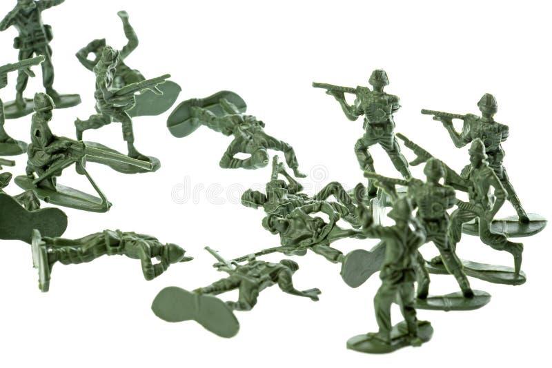 Geïsoleerdee de Militairen van het stuk speelgoed stock foto