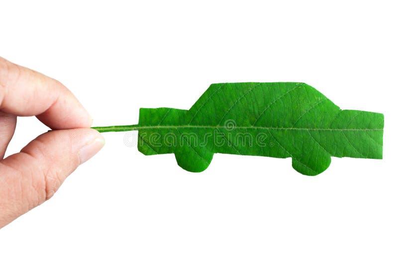 Geïsoleerdee groene auto stock afbeelding