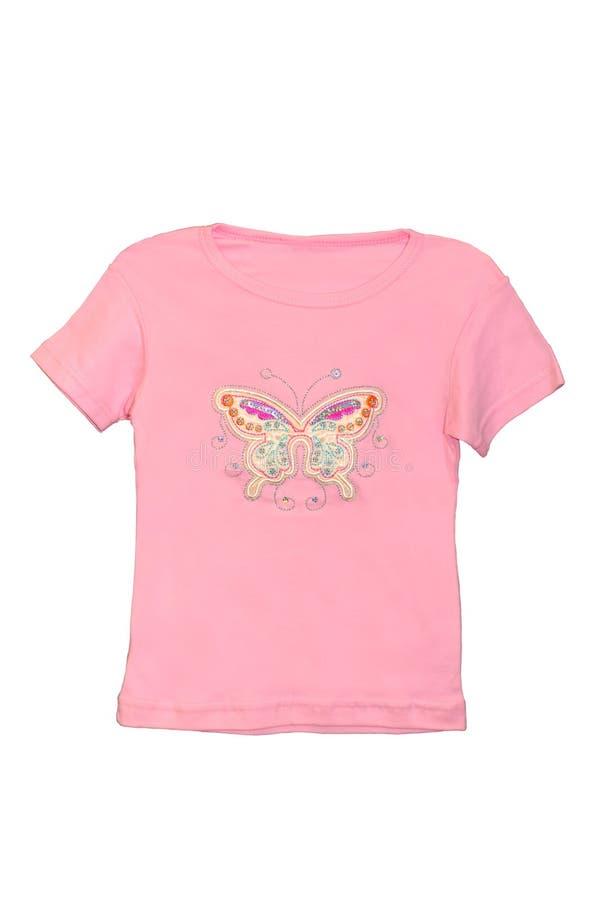 Geïsoleerdee het meisjes roze T-shirt van kinderen royalty-vrije stock afbeelding