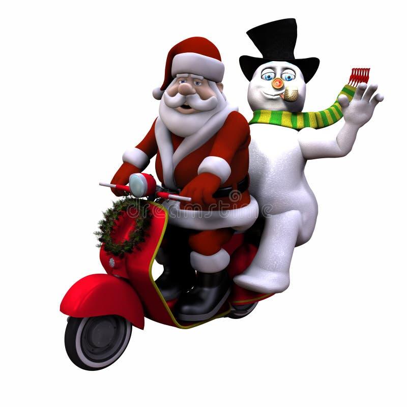 Geïsoleerdee kerstman en Sneeuwman 1 - stock illustratie