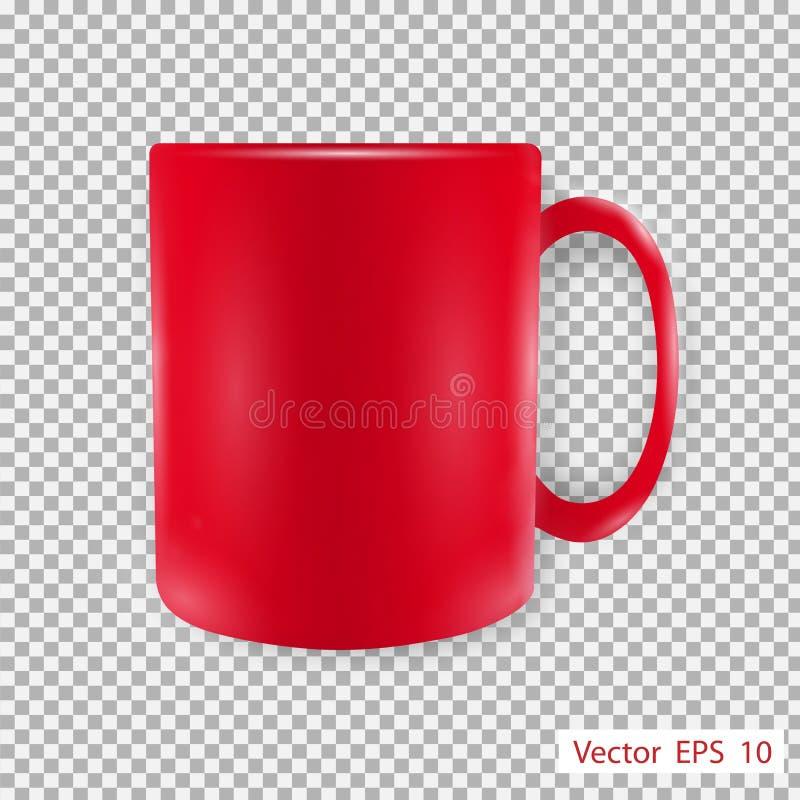 Geïsoleerdee rode mok stock illustratie