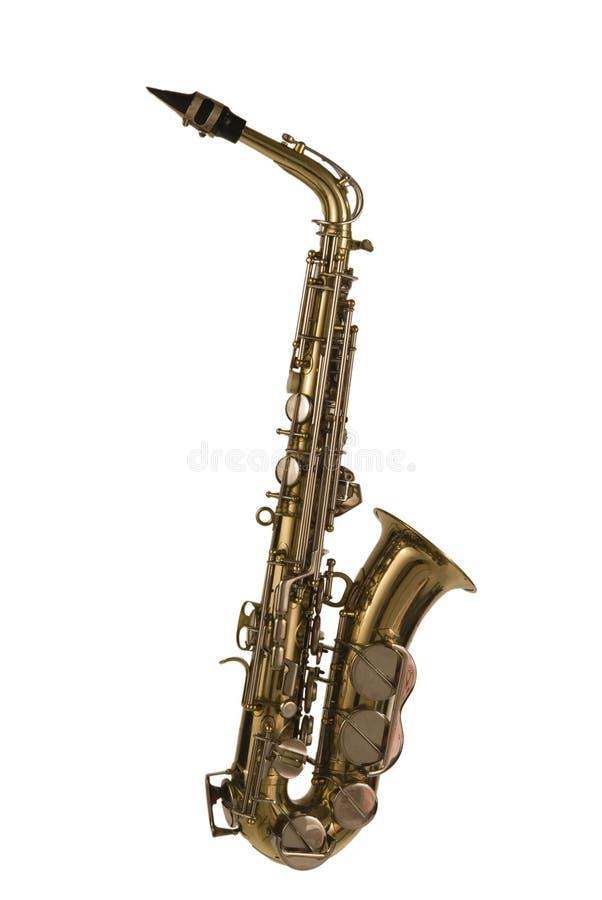 Geïsoleerdee saxofoon stock foto