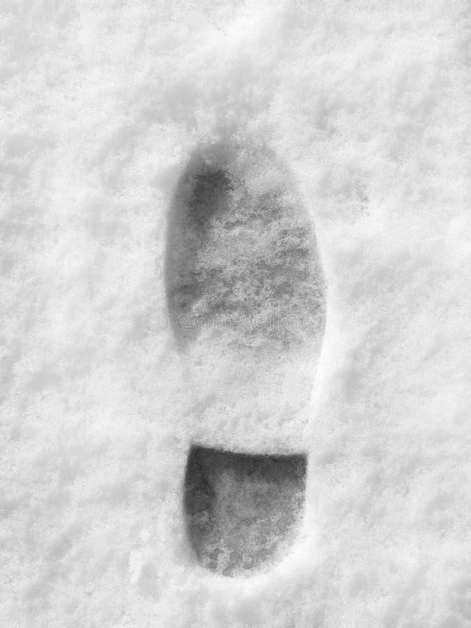 Geïsoleerdee voetafdruk in sneeuw royalty-vrije stock fotografie