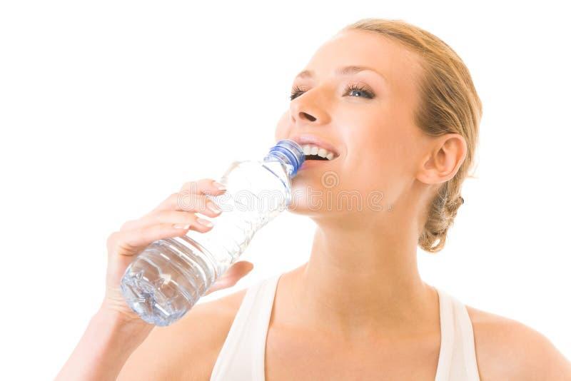 Geïsoleerdee vrouw met water, royalty-vrije stock foto's