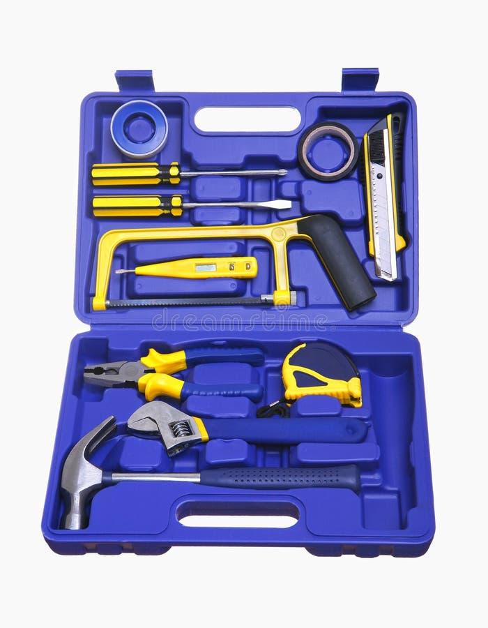 Geïsoleerdef blauwe plastic toolbox royalty-vrije stock afbeeldingen