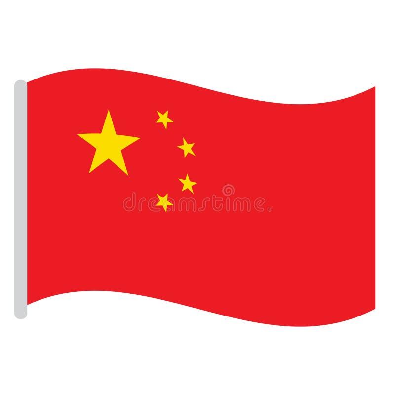 Geïsoleerdeg Chinese Vlag royalty-vrije illustratie