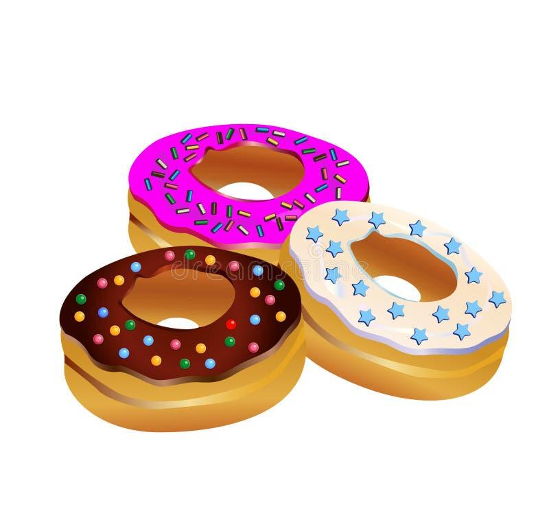 Geïsoleerdeg Donuts vector illustratie