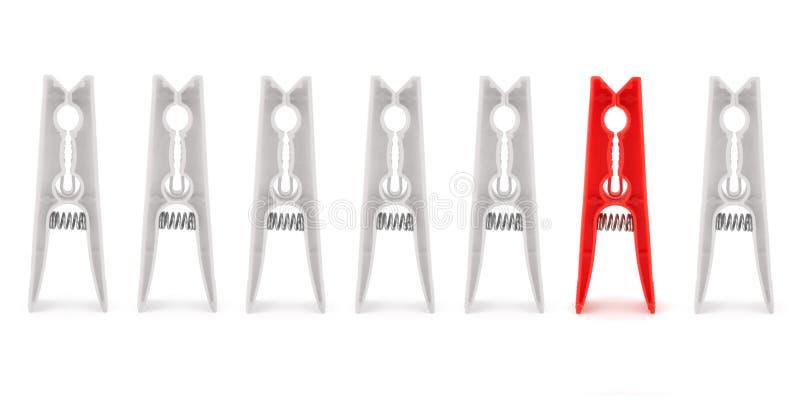 Geïsoleerdeg rode pin onder witte degenen stock fotografie