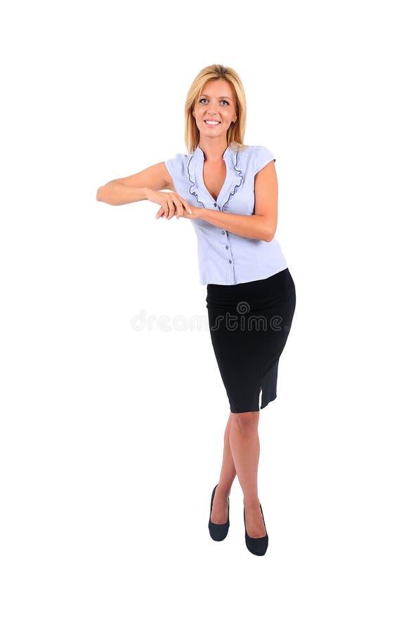Geïsoleerdei bedrijfsvrouw stock foto