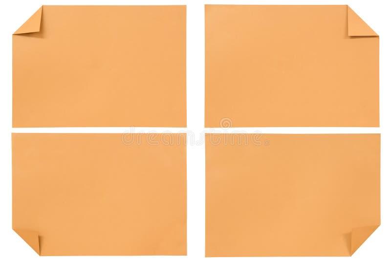 Geïsoleerdek inzameling van divers Oranje document royalty-vrije stock foto's