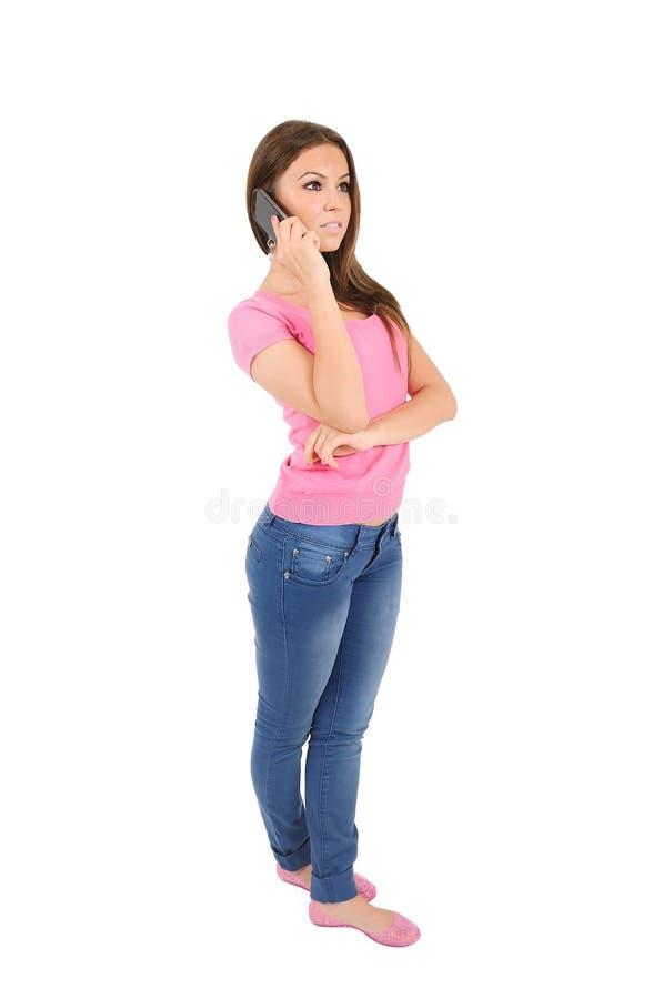 Geïsoleerdek toevallige vrouw stock afbeeldingen