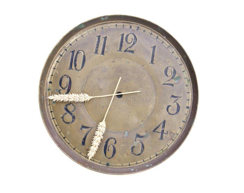 Geïsoleerdel clockdial oogsttijd en orenpijlen royalty-vrije stock foto's
