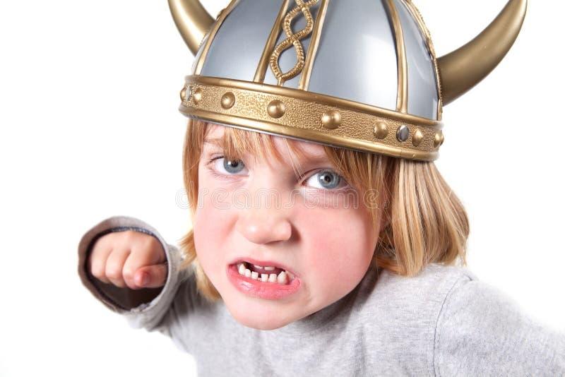 Geïsoleerdel het kindhelm van Viking stock afbeeldingen