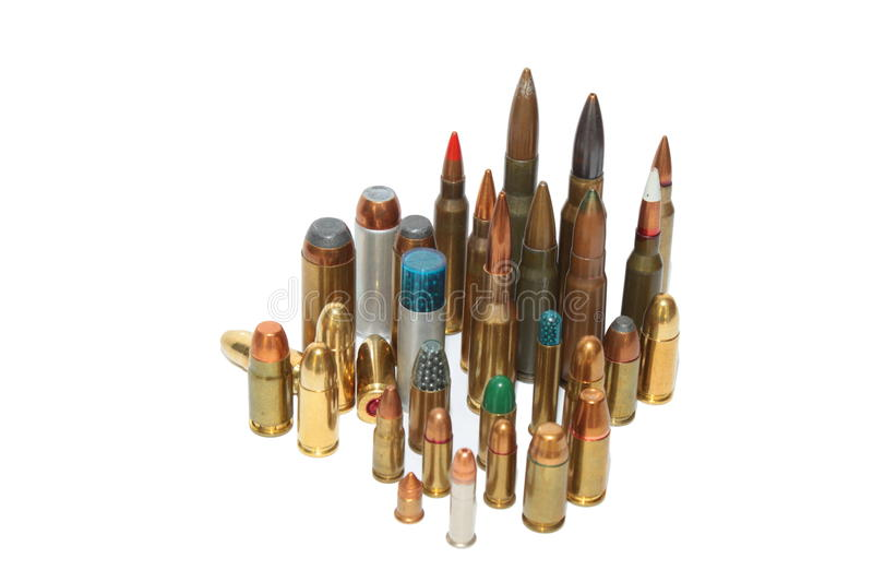 Geïsoleerdel munitie van diverse kalibers, stock foto
