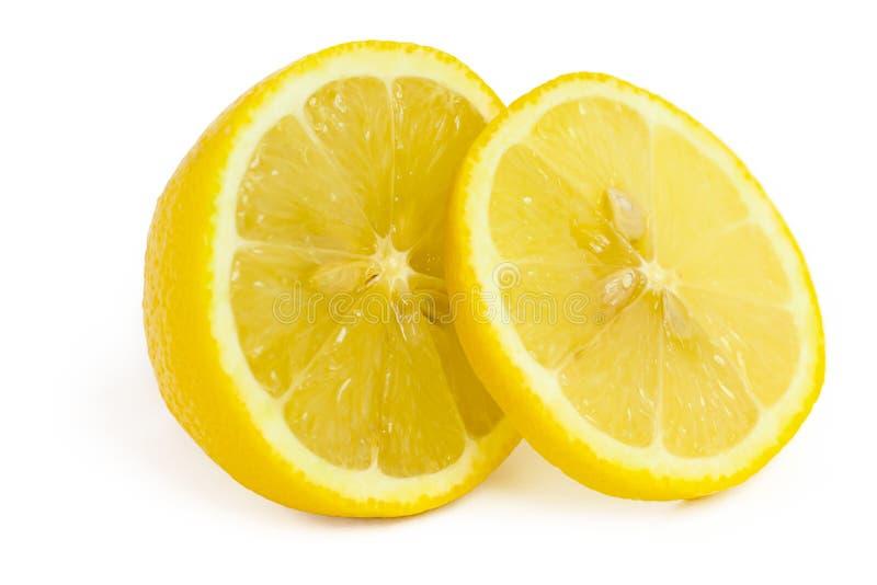 Geïsoleerdem citroen en plak stock afbeeldingen