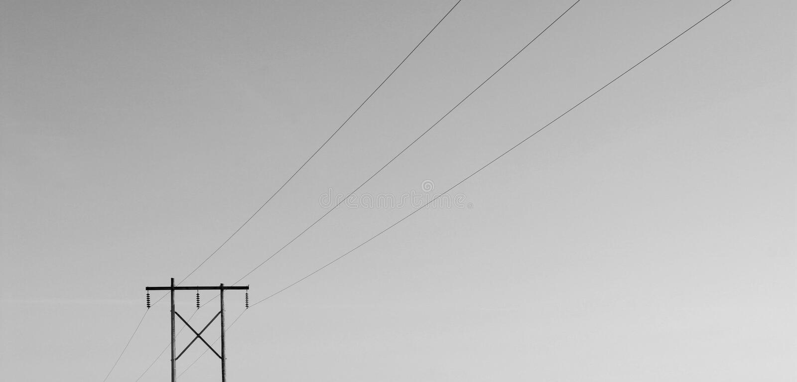 Geïsoleerdem Powerline B/W royalty-vrije stock foto