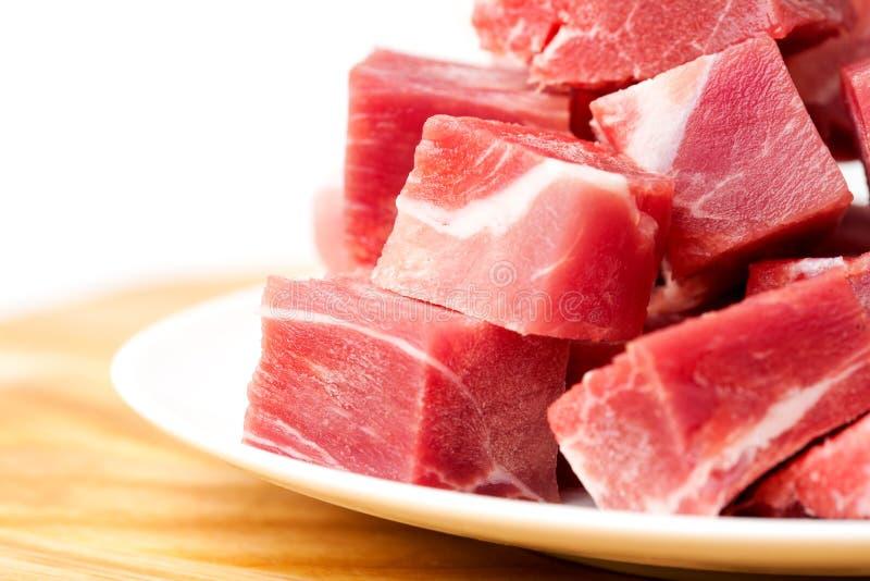 Geïsoleerdem stukken van bevroren vlees royalty-vrije stock afbeelding