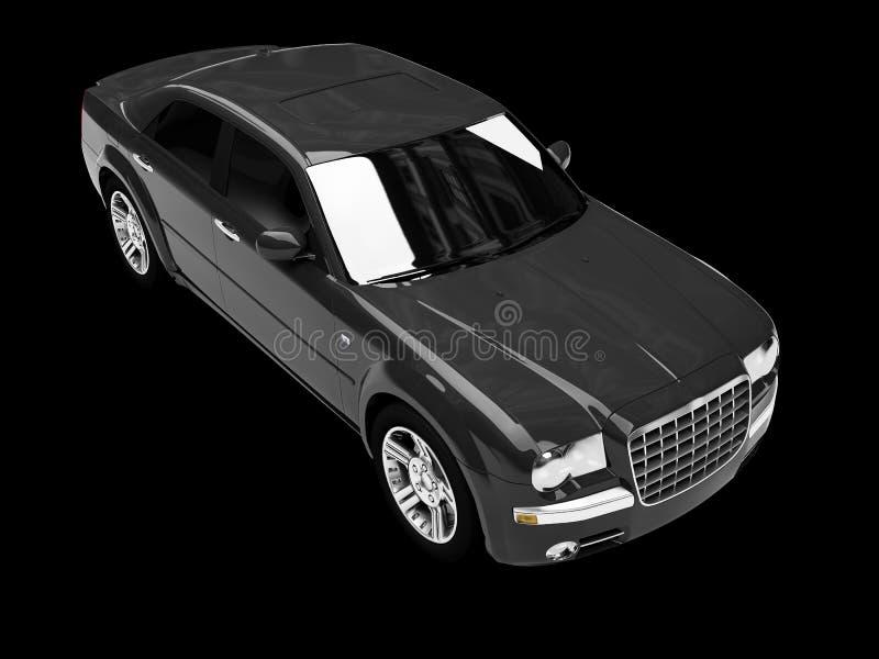 Geïsoleerdem zwarte auto hoogste mening royalty-vrije illustratie