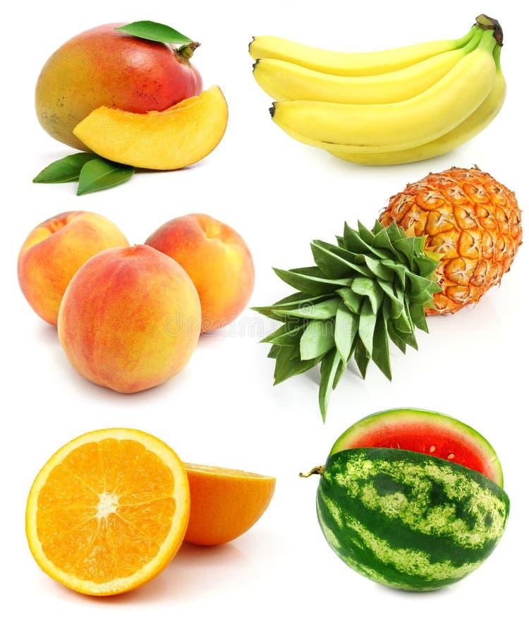 Geïsoleerden inzameling van vers fruit royalty-vrije stock foto's