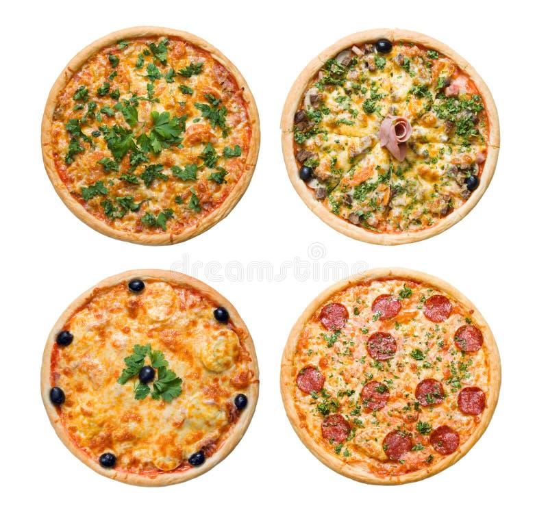 Geïsoleerden pizza en Italiaanse keuken stock foto's