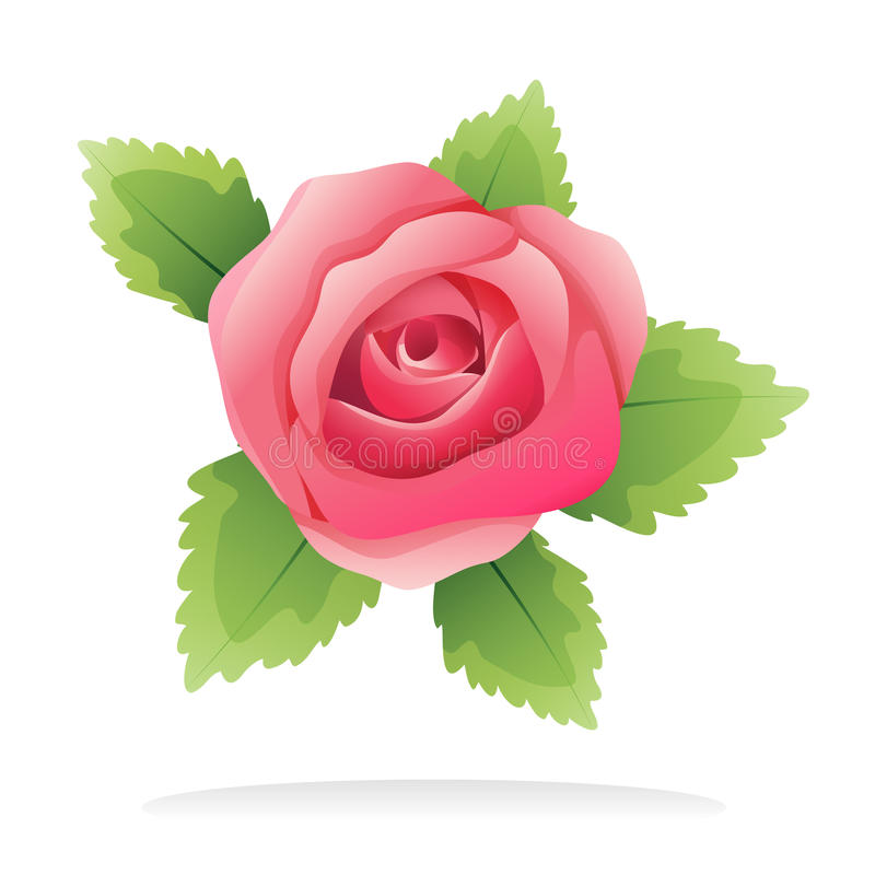 Geïsoleerden roze nam toe royalty-vrije illustratie