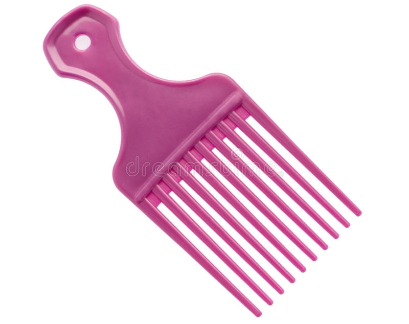 Geïsoleerden violette haarborstel royalty-vrije stock afbeeldingen