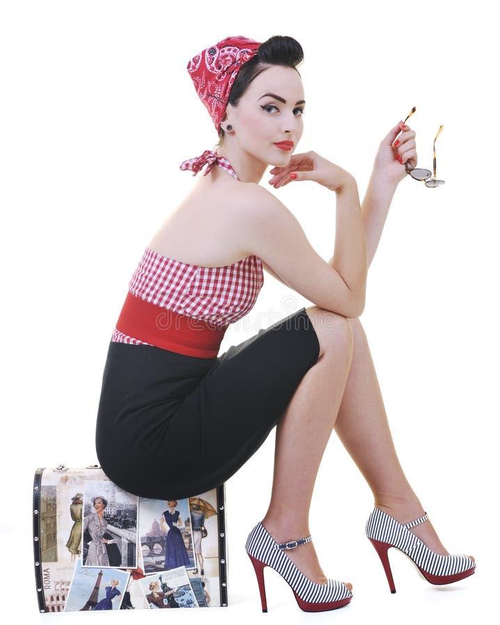 Geïsoleerden vrouw met reiszak stock foto's