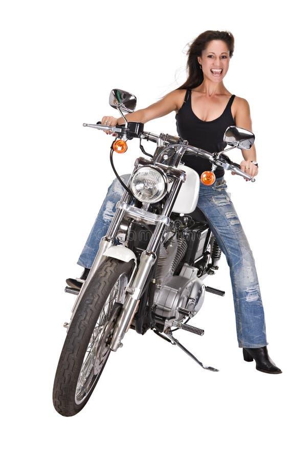 Geïsoleerden vrouw op motor royalty-vrije stock fotografie