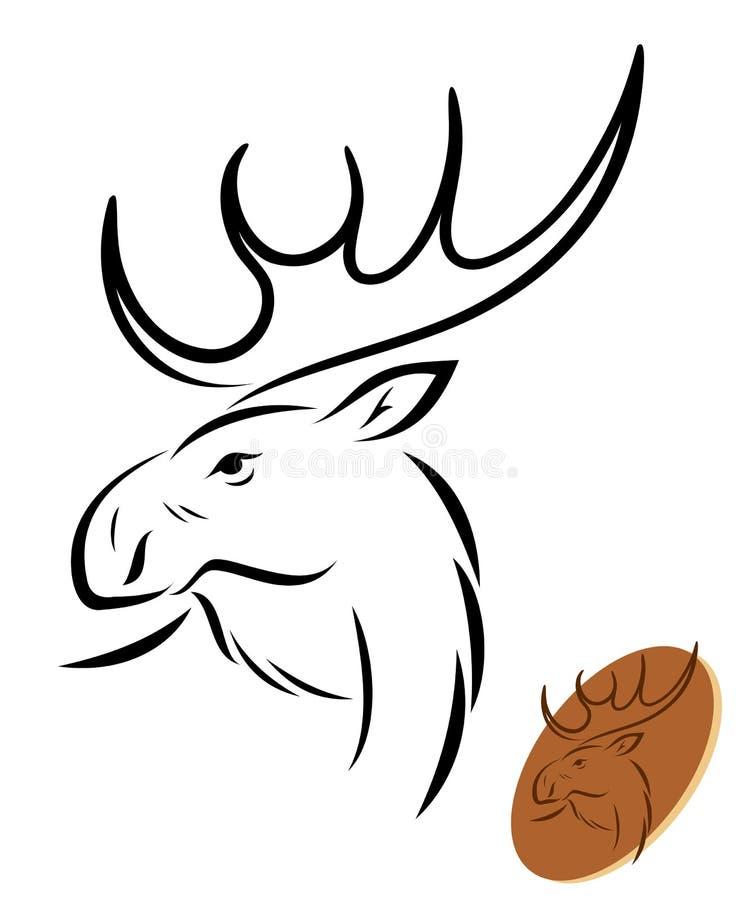 Geïsoleerdeo Amerikaanse elanden royalty-vrije illustratie